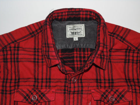 Levi Strauss red tartan checks trucker quilted jacket mens large - #DLJ005 LABEL