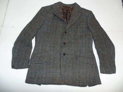 "Harris Tweed Vintage windowpane dark green blazer 42"" Reg Mens races - #DLJ004-Classic Clothing Crib"