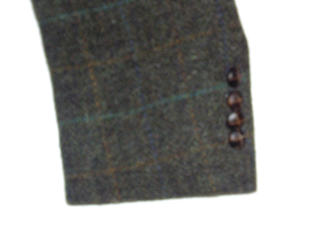"Harris Tweed Vintage windowpane dark green jacket / blazer 40"" mens M DLJ013-Classic Clothing Crib"