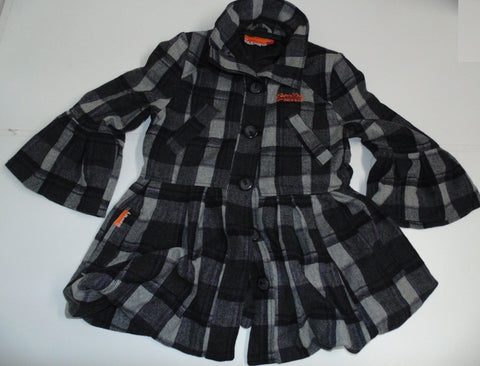 Superdry black checkered smart coat / jacket large ladies size 14 DLJ015-Classic Clothing Crib