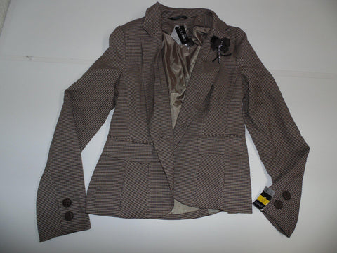 Dunnes brown check jacket / ladies size 10 womens New - DLJ001