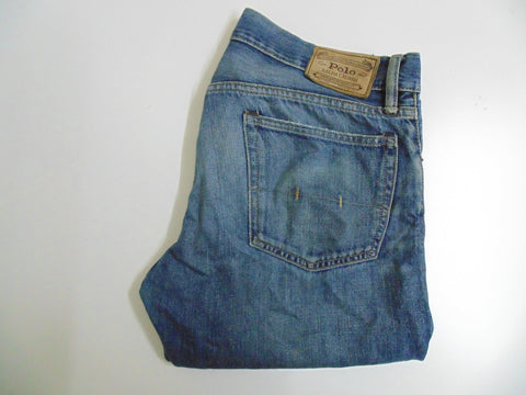"Ralph Lauren blue denim jeans w 34"" x L 32"" mens VA RICK SLIM STRAIGHT DLJ161"