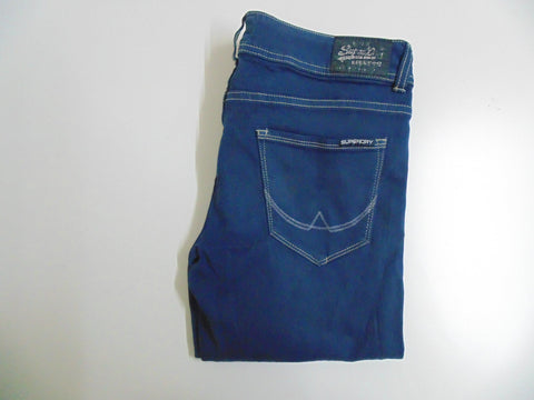 "Superdry blue cotton stretch jeans size 14, waist 32"" ladies Cigarette slim DLB2541"