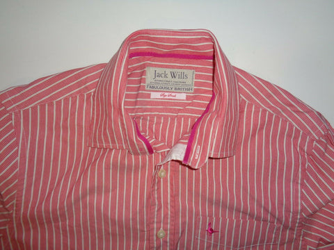 Jack Wills red stripes shirt - small mens - S6313-Classic Clothing Crib