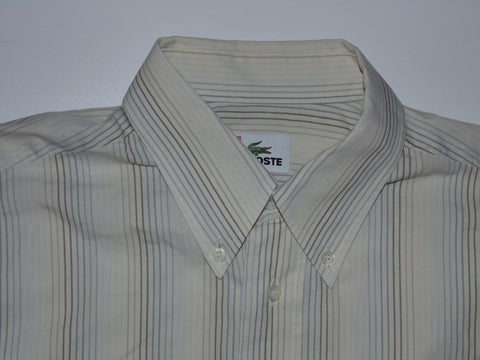 Lacoste beige stripes short sleeves shirt, medium mens, size 39 - S5833-Classic Clothing Crib