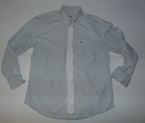 Lacoste blue checks shirt with frills - large mens, size 42 - S6195-Classic Clothing Crib