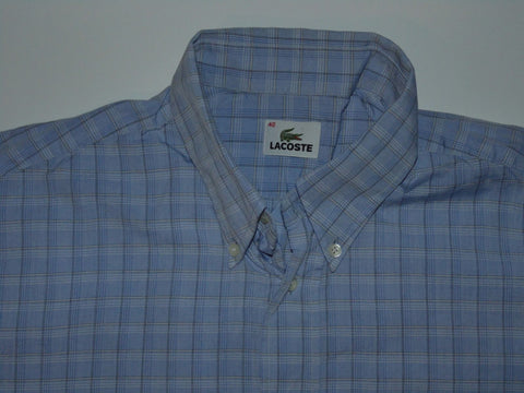 Lacoste blue checks short sleeves shirt, medium mens, size 40 - S5835-Classic Clothing Crib