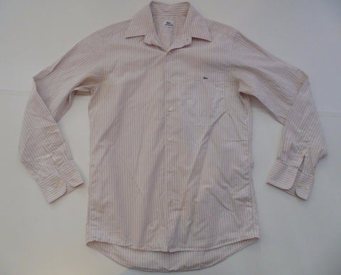 Lacoste pink & grey stripes shirt - medium mens, size 39 - S5128-Classic Clothing Crib