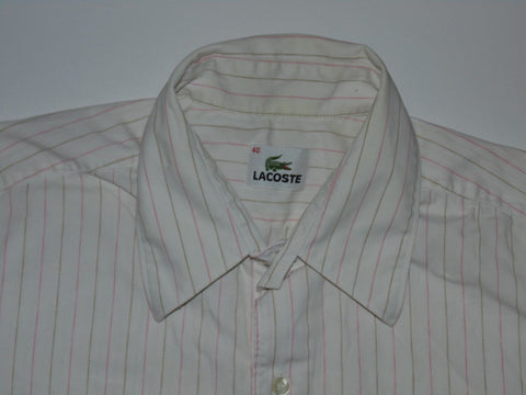Lacoste pink stripes short sleeves shirt, medium mens size 40 - S5897-Classic Clothing Crib