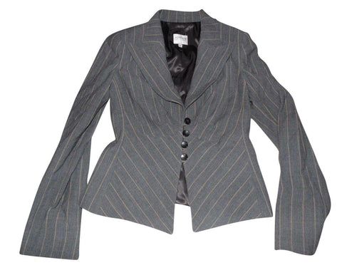 Ladies Armani Collezioni grey blazer jacket virgin wool - size 42 / UK 10
