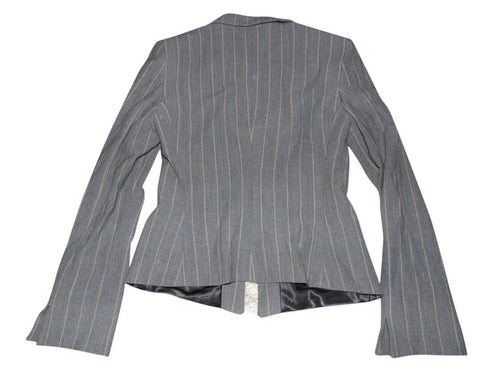 Ladies Armani Collezioni grey blazer jacket virgin wool - size 42 / UK 10-Classic Clothing Crib