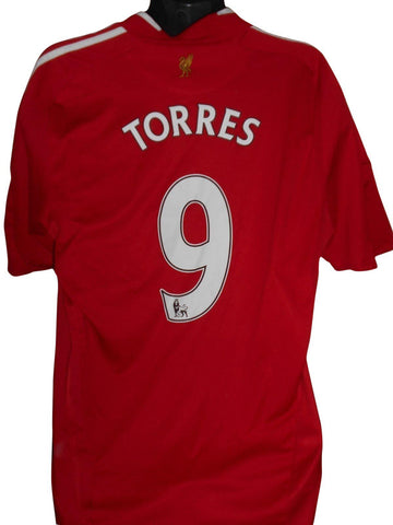Liverpool 2009-10 home shirt Large mens TORRES 9 #S722.