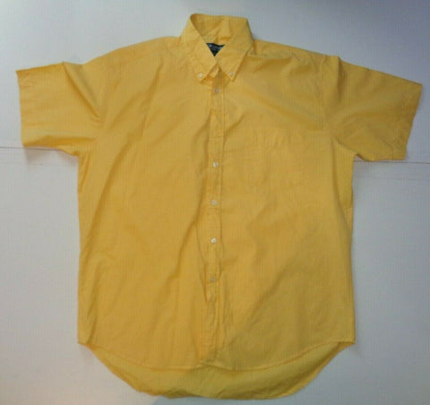 TM Lewin yellow checks short sleeves shirt - large mens - S6332-Classic Clothing Crib