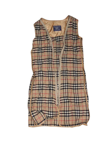 Mens Burberrys beige plaid check wool coat mac lining - Medium - VSH104.-Classic Clothing Crib