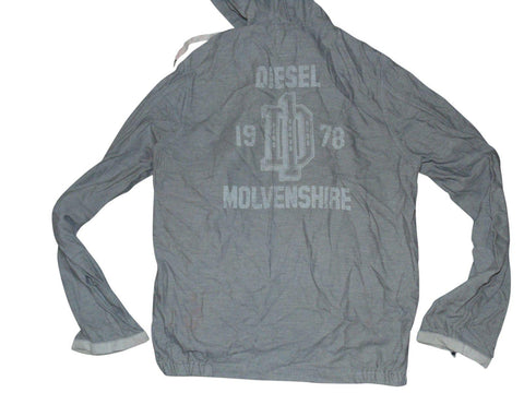 Mens Diesel grey zip hoodie jacket / sweatshirt size Large MOLVENSHIRE - VSD166.-Classic Clothing Crib