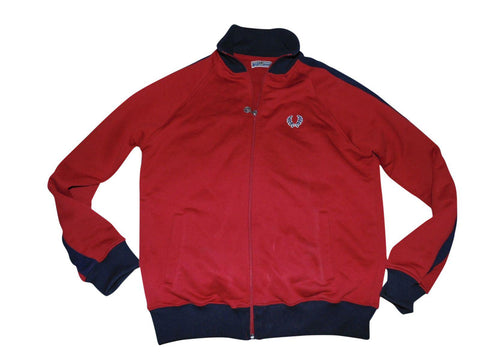 Mens Fred Perry vintage red twin taped tracksuit jacket medium mens - VS185-Classic Clothing Crib