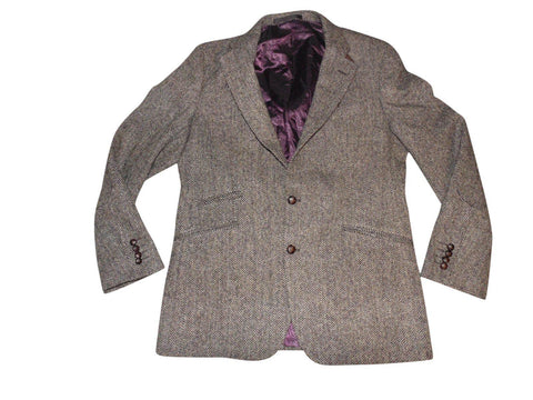 "Mens Harris Tweed Marks & Spencer brown herringbone blazer jacket Large 44"" Long MINT - VSE113-Classic Clothing Crib"