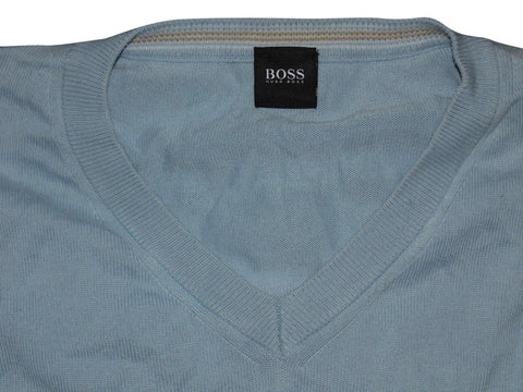 Mens Hugo Boss Barnabas blue v-neck jumper XXL- VSE135.-Classic Clothing Crib