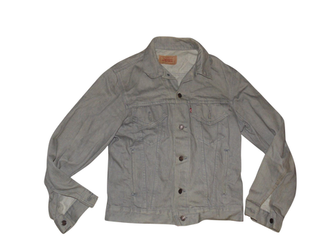 Mens vintage USA Levi's 70506-0257 faded grey denim jacket - medium size 40 R - VSE122-Classic Clothing Crib