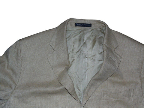 Mens Ralph Lauren beige blazer jacket silk / flax / virgin wool Size 40 Large VS115.-Classic Clothing Crib