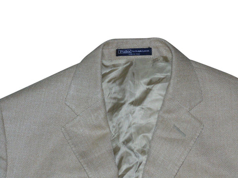 Mens Ralph Lauren beige herringbone blazer jacket Size 40 Large part silk - VS116-Classic Clothing Crib