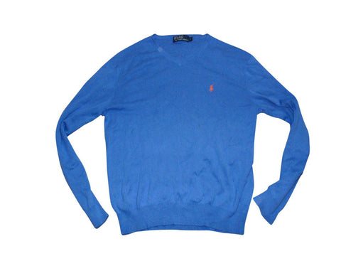 Mens Ralph Lauren blue v-neck jumper Pima cotton Large - VSE141-Classic Clothing Crib