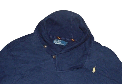 Mens Ralph Lauren navy blue shawl sweatshirt jumper large - VSA135.-Classic Clothing Crib