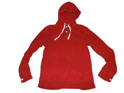 Mens Ralph Lauren red button hoodie, sweatshirt medium - VSC160-Classic Clothing Crib