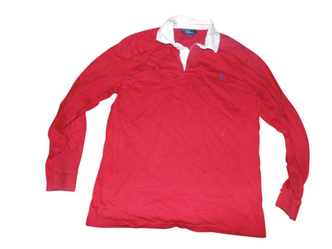Mens Ralph Lauren red rugby shirt jersey XL custom fit VGC - VSA196-Classic Clothing Crib