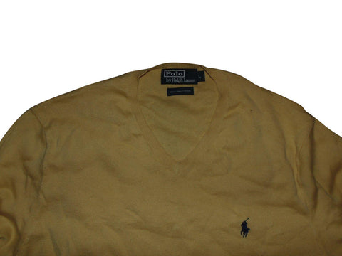 Mens Ralph Lauren yellow v-neck jumper large pima cotton - VSA144.-Classic Clothing Crib