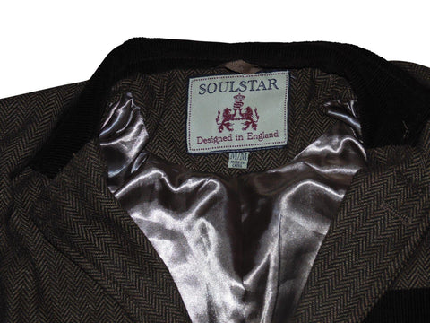 Mens Soulstar MJ Grouse brown blazer herringbone jacket - Medium-Classic Clothing Crib