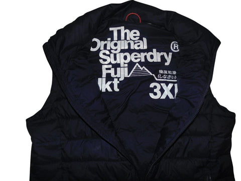 Mens Superdry Fuji navy blue quilted gilet jacket - 3XL - VSC127.