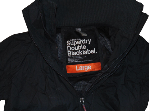 Mens Superdry black / charcoal windcheater jacket blacklabel - large winter coat - VSJ113-Classic Clothing Crib