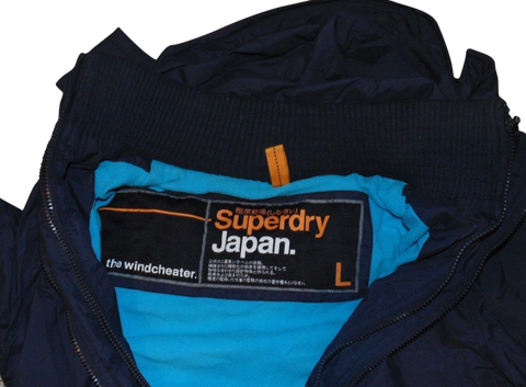 Mens Superdry black windcheater fleece lined jacket - large winter coat VSJ114-Classic Clothing Crib