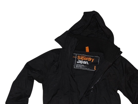 Mens Superdry black windcheater jacket - large coat - VSF112-Classic Clothing Crib