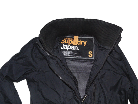 Mens Superdry black windcheater jacket - small coat - VSH108-Classic Clothing Crib
