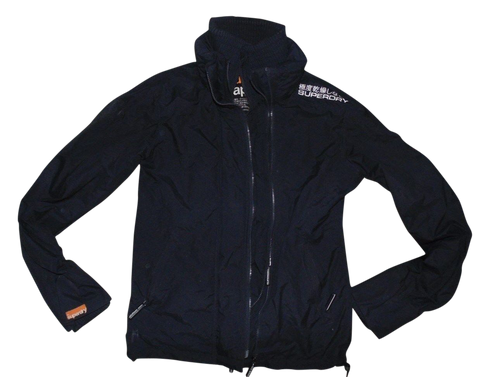 Mens Superdry black windcheater jacket with net lining - small - VSC110