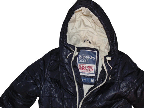 Mens Superdry blue puffa jacket - double blacklabel medium coat - VSH105-Classic Clothing Crib