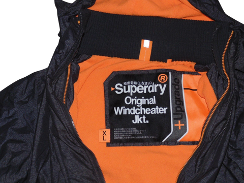 Mens Superdry charcoal black fleece lined windcheater jacket - XL + Upgrade - VSH110-Classic Clothing Crib