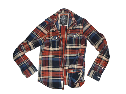 Mens Superdry red & blue checkered shirt jacket - xl - VSC112