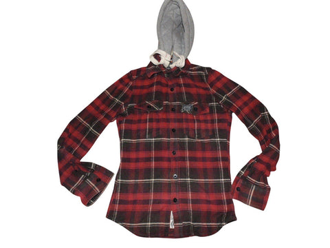 Mens Superdry red checks button hoodie shirt, sweatshirt small - VSC168.-Classic Clothing Crib