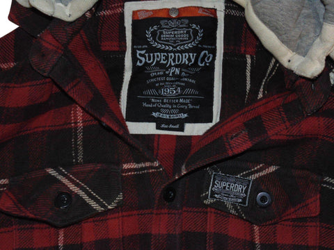 Mens Superdry red checks button hoodie shirt, sweatshirt small - VSC168.