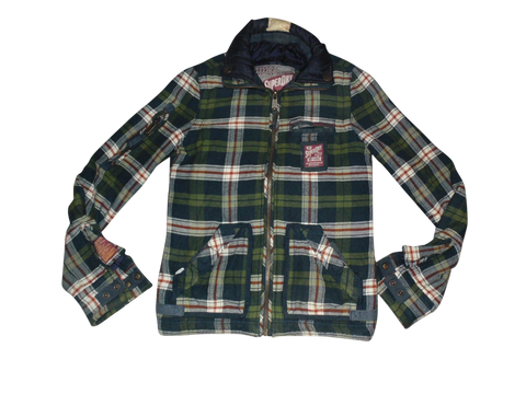 Mens Superdry vintage green check zip jacket western shirt - small - DLJ109