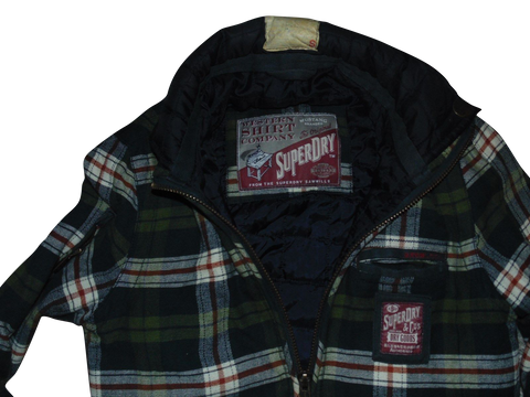 Mens Superdry vintage green check zip jacket western shirt - small - DLJ109-Classic Clothing Crib