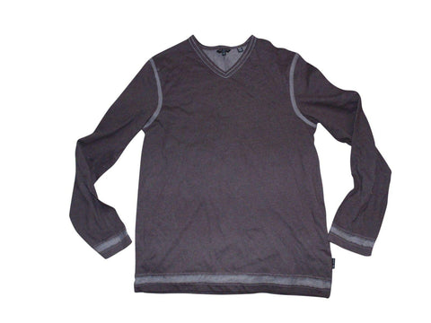Mens Ted Baker brown grey v-neck jumper sweatshirt medium size 3 - VSE151.-Classic Clothing Crib