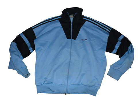 Mens Vintage 1980s Adidas blue tracksuit jacket small D5 LARGE trefoil firebrand