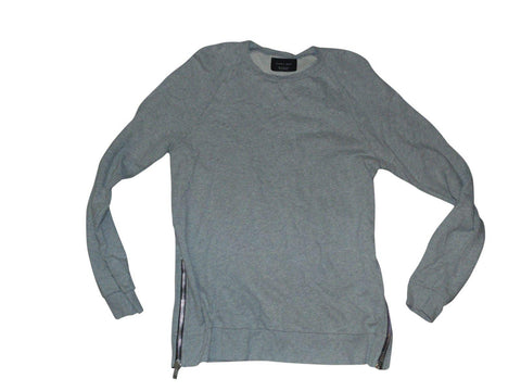 Mens ZARA MAN grey crew neck sweater / jumper with side zips XL - VSD152-Classic Clothing Crib