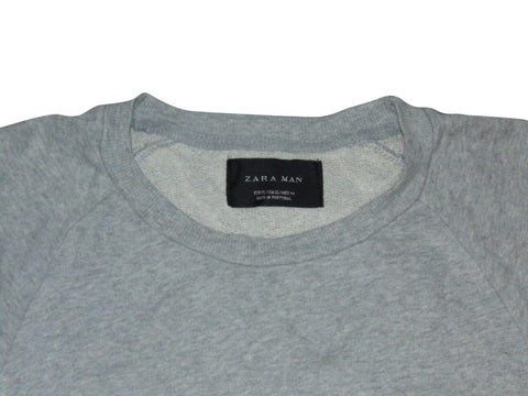 Mens ZARA MAN grey crew neck sweater / jumper with side zips XL - VSD152