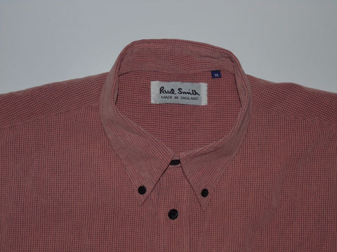 Paul Smith pink checks short sleeves shirt, medium mens polyester - S5326