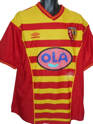 RC Lens 2004-05 home shirt Large Mens #S809.